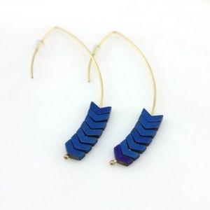 Jewelry - Hematite Stone Chevron Arrow Earrings